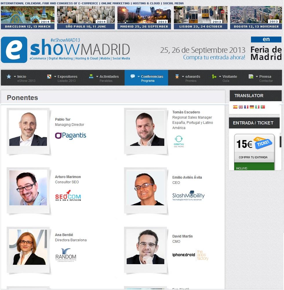 Ponentes eShow - Madrid 2013